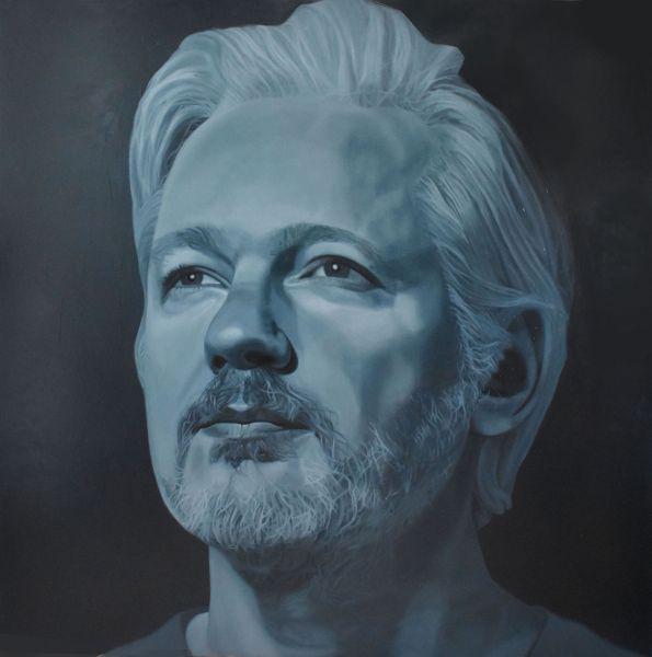 Assange, 180x180cm, oil on canvas, 2020