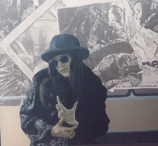 Girl with Sunglasses, 140x140cm, oil on canvas, 1995