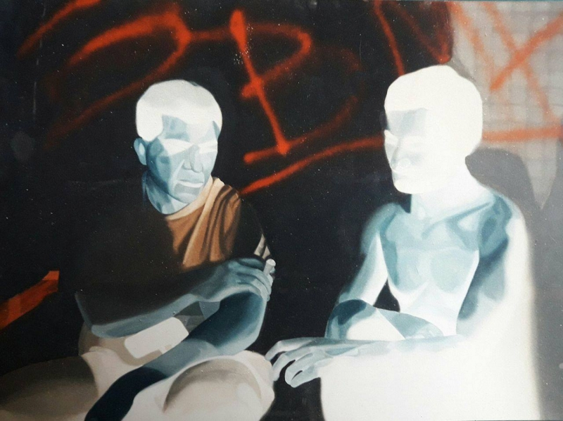 Smokers, 140x120cm, oil on canvas, 1998